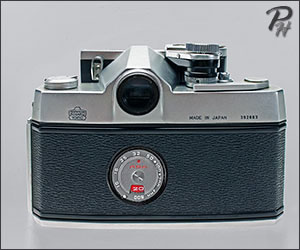 Nikkorex F with externally coupled exposure meter - rear view